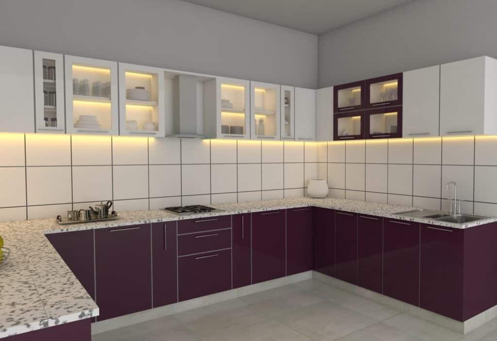 Purple & White Combination Modular Kitchen